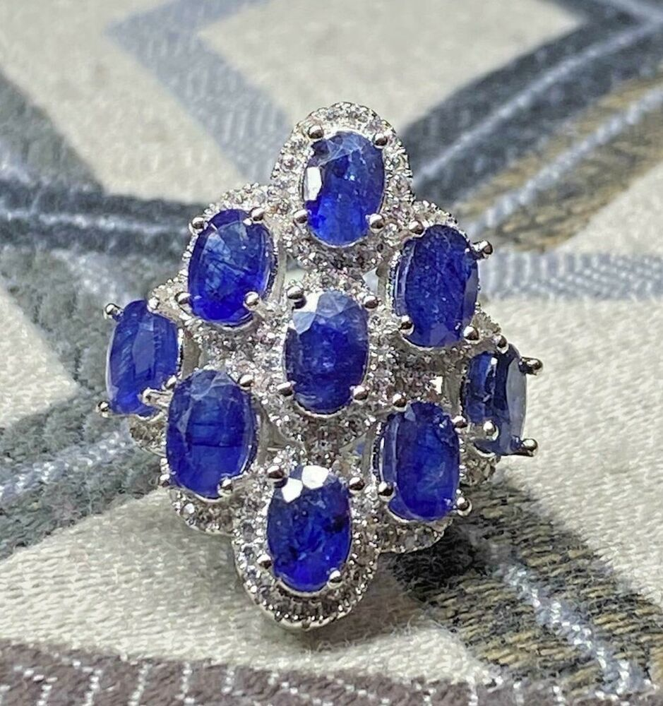 925 Sterling Silver 9ct Natural Ceylon Sapphire Wedding Engagement Ring Auction Ebay In 2020 Sapphire Wedding Wedding Rings Engagement Ceylon Sapphire