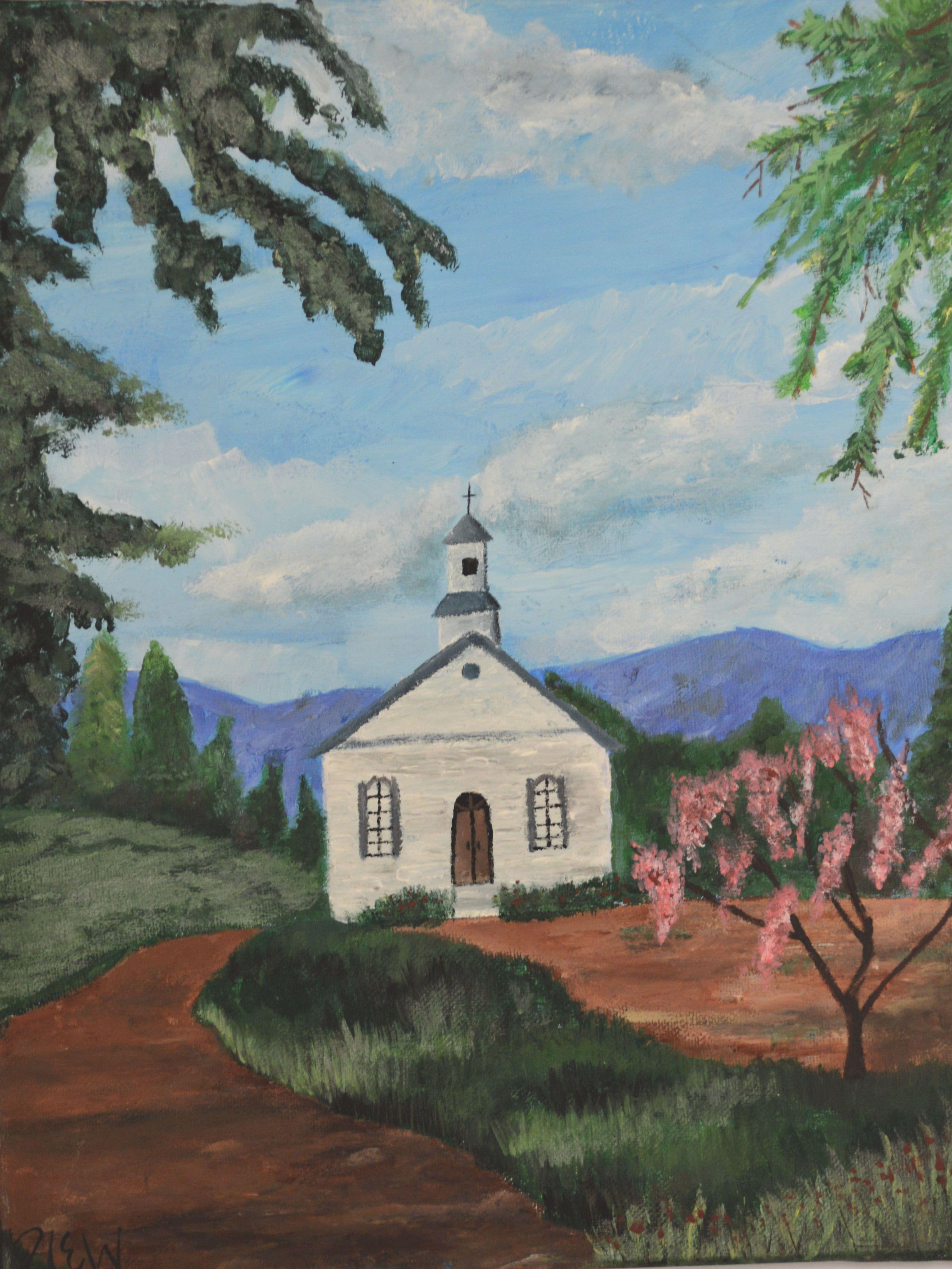 Arylic Church Landscape Painting By Hannah Wilson Landscape Paintings Painting Landscape