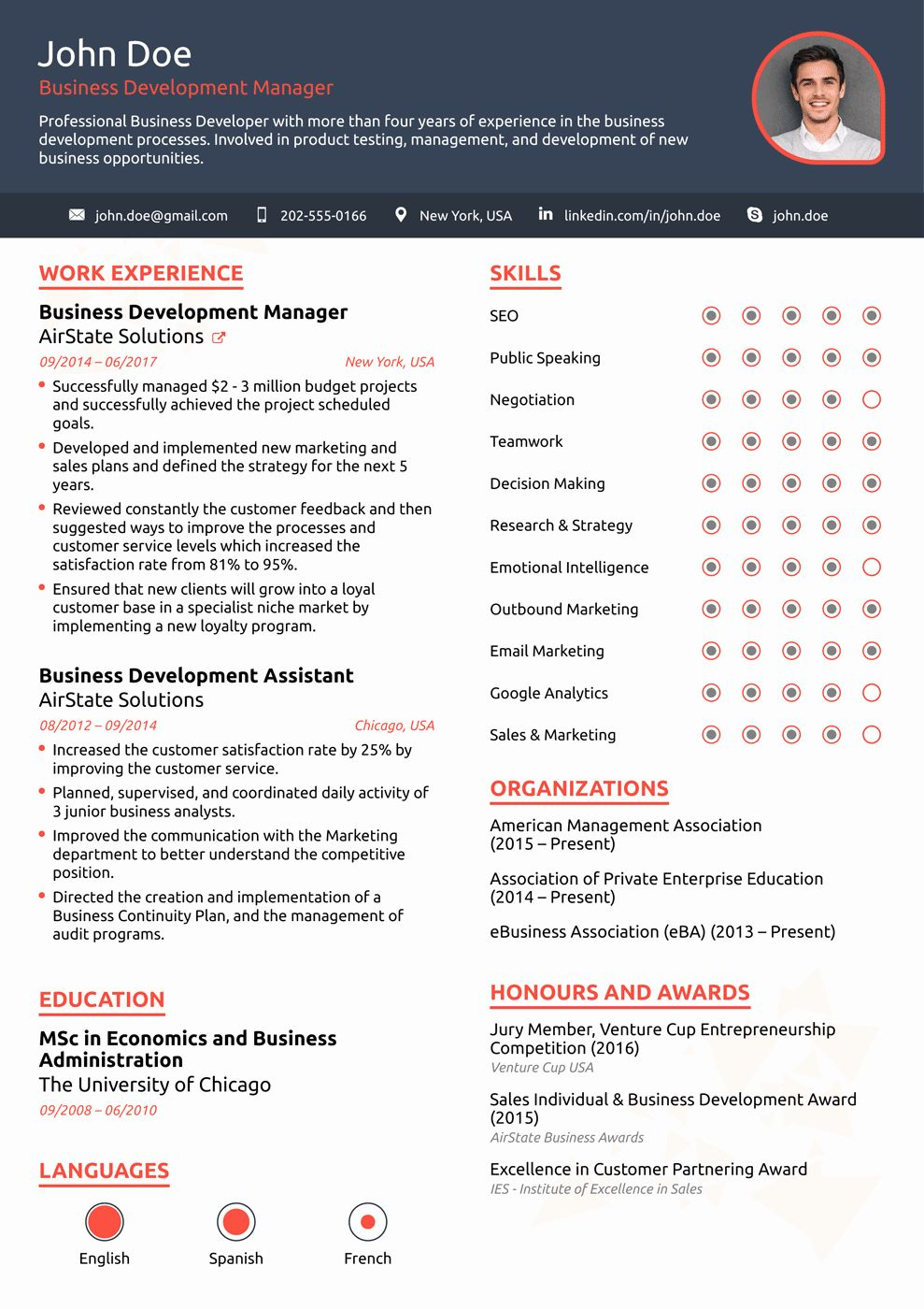 25 One Page Resume Template Free in 2020 Creative resume