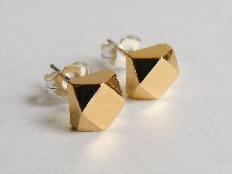 Geometric Gold Stud Earrings Chunky Faceted Earings Everyday Jewelry Faux Diamond Studs Modern Cubes By Hookandmatter On Etsy