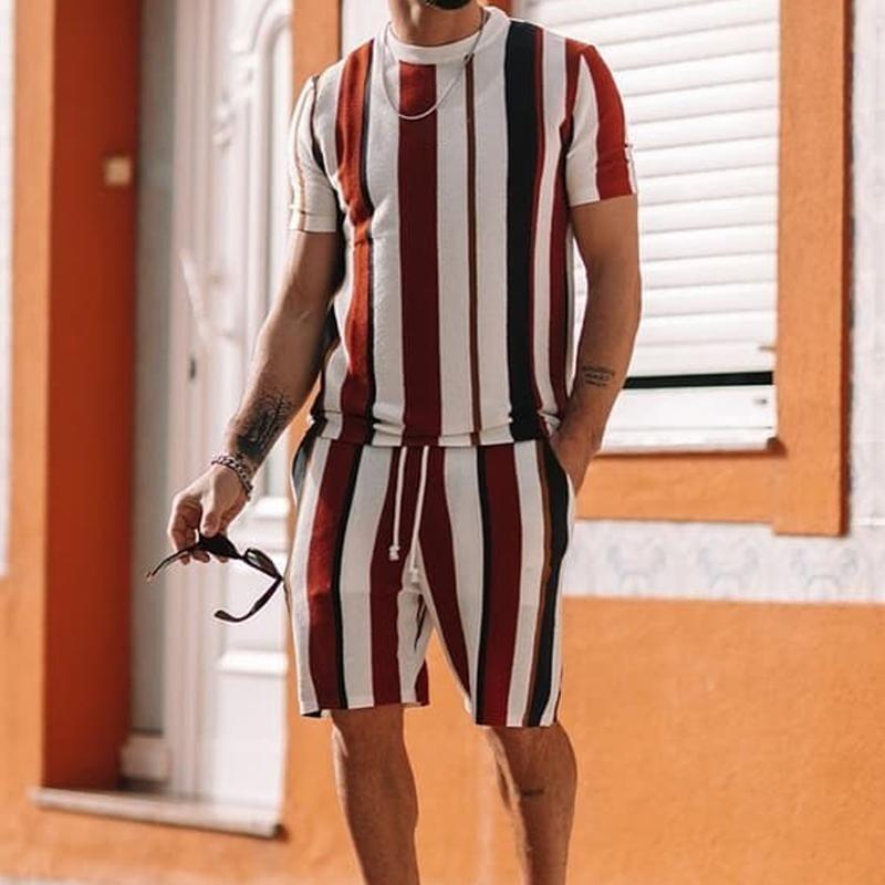 Men Striped Loungewear Casual Sport Wear TwoPiece Set