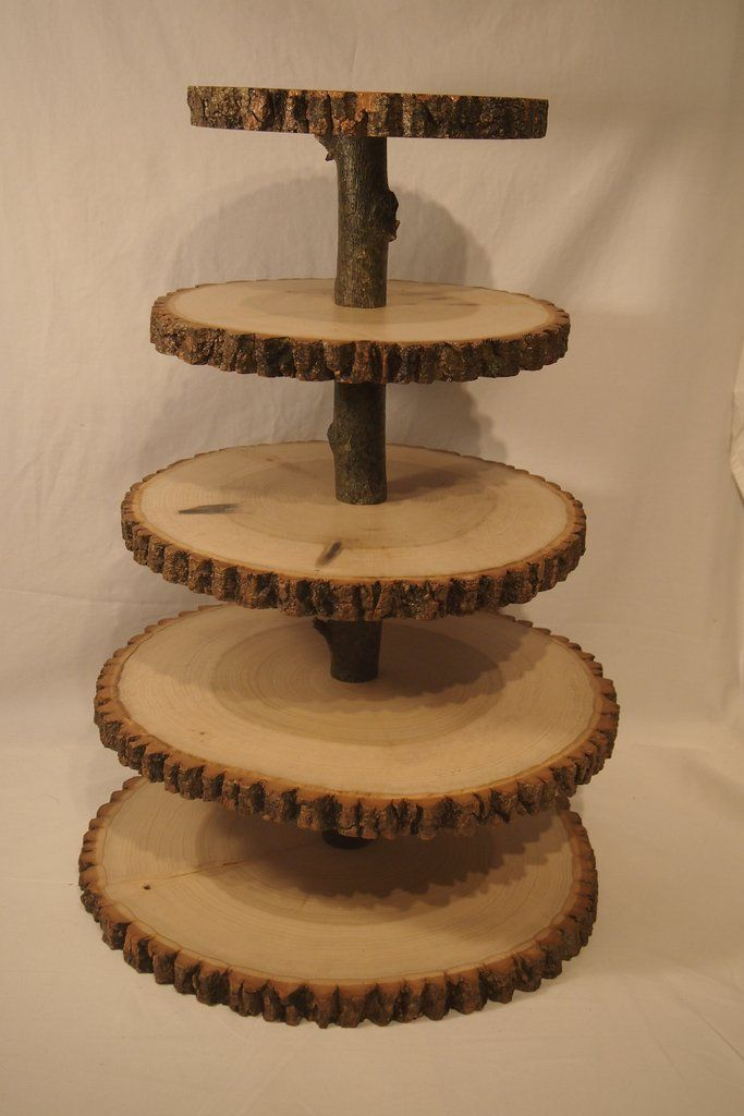 5 Tier tree slice cupcake/dessert stand, Rustic wedding or event decor