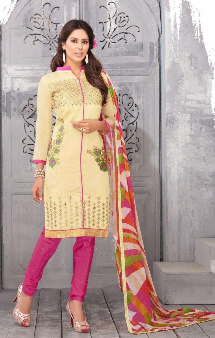 dad76fbe8f Cream Chanderi Silk Sexy Salwar Suit | Designer Salwar Kameez Online ...