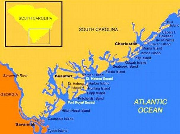 Map Of South Carolina Coast | Map Of South Carolina And Georgiau2019s Low Country Coastal Region ...