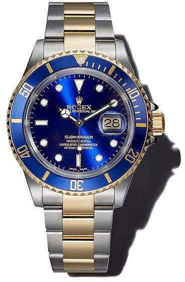 Rolex Pre-Owned Stainless Steel and 18K Yellow Gold Two Tone Submariner Watch with Blue Dial, 40mm #rolexsubmariner