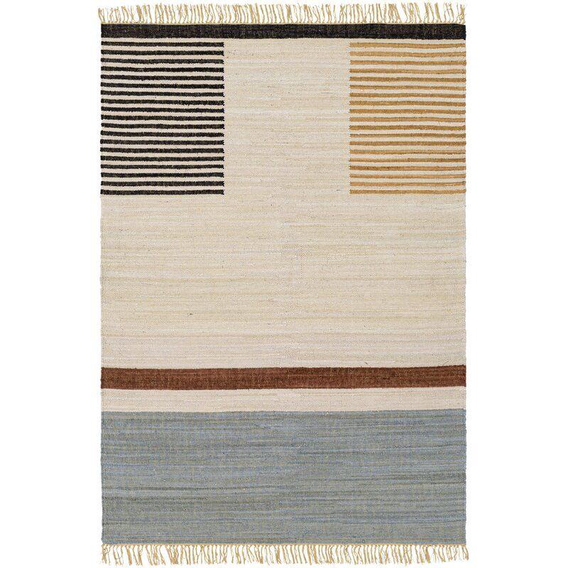 George Oliver Abston Southwestern Handmade Flatweave Cotton Cream Black Area Rug Wayfair Rugs Flat Weave Black Area Rugs