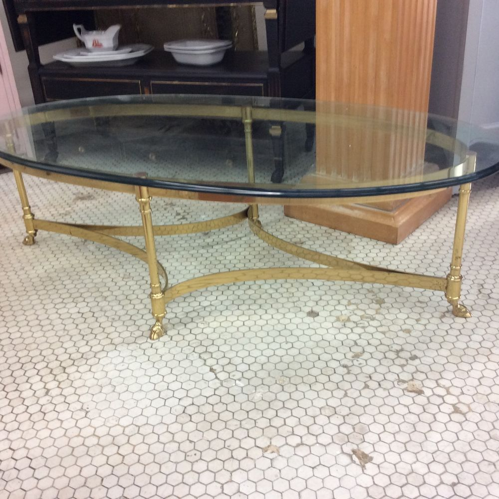 Vtg Hollywood Regency Labarge Brass Glass Hoof Foot Coffee Cocktail Table Antique Table Table Cocktail Tables [ 1000 x 1000 Pixel ]