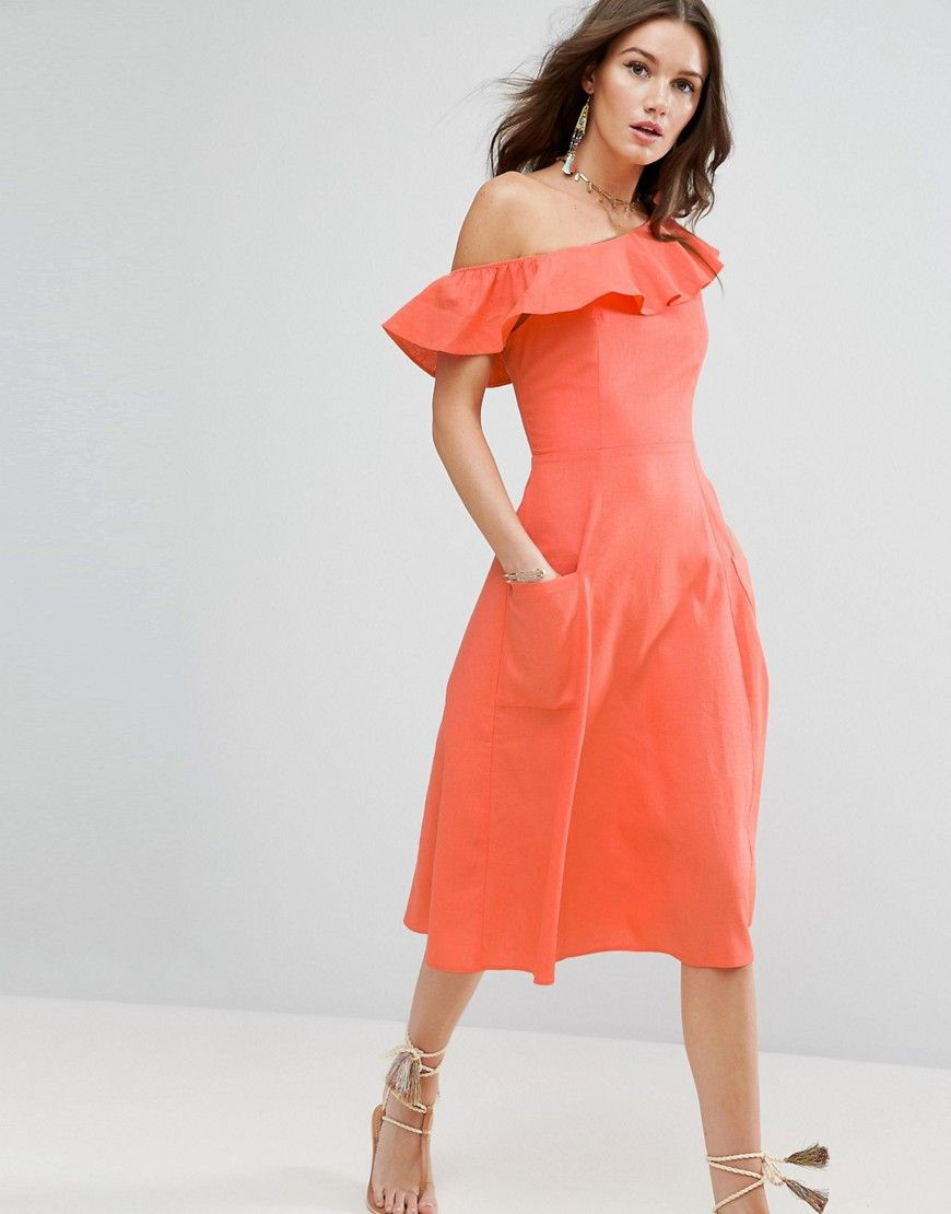 Buy it now. ASOS One Shoulder Ruffle Front Sundress - Pink. Dress by ASOS Collection, Linen-rich fabric, One-shoulder neckline, Ruffle trim, Zip-back closure, Fit-and-flare style, Regular fit - true to size, Machine wash, 58% Linen, 42% Viscose, Our model wears a UK 8/EU 36/US 4 and is 178cm/5'10� tall. ABOUT ASOS COLLECTION Score a wardrobe win no matter the dress code with our ASOS Collection own-label collection. From polished prom to the after party, our London-based design team scour…
