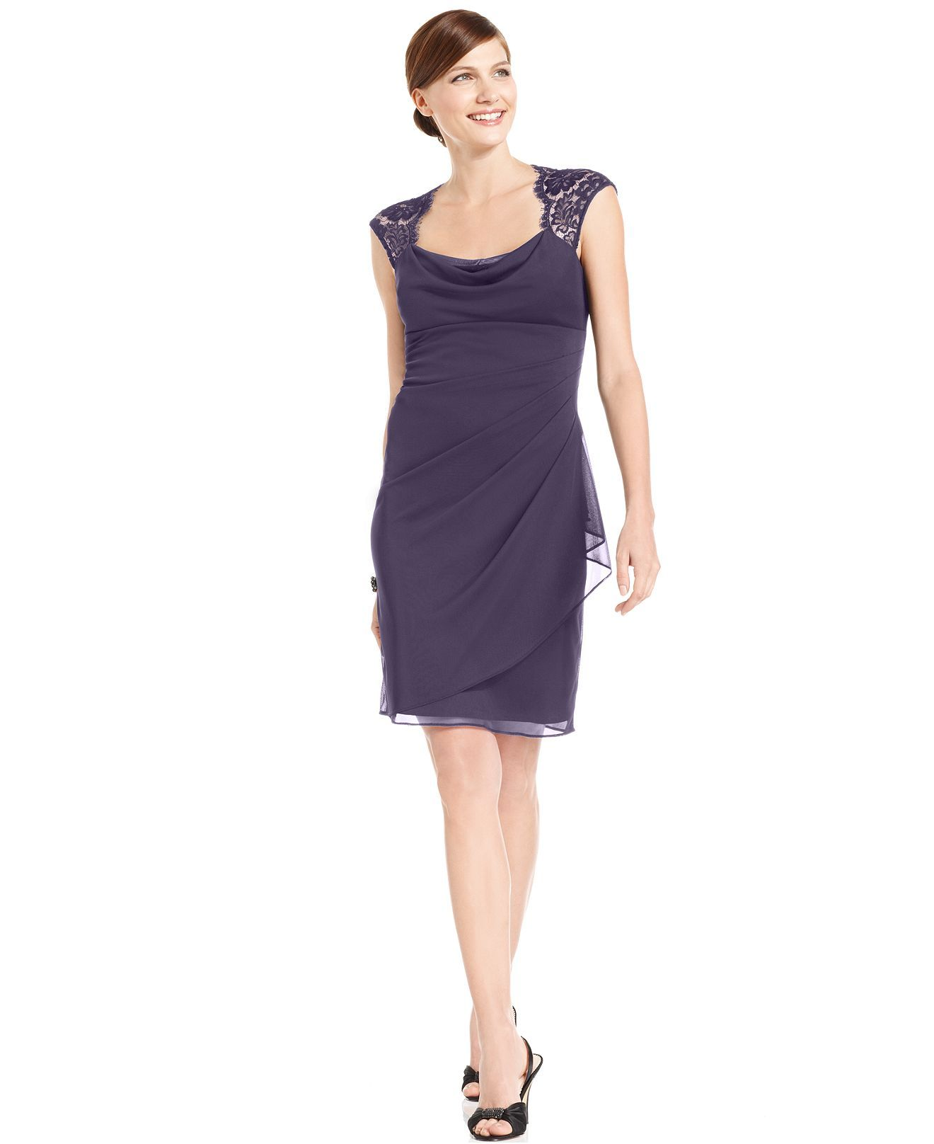 Xscape Dress, Sleeveless Lace Cowl-Neck - Womens Dresses - Macy's ...