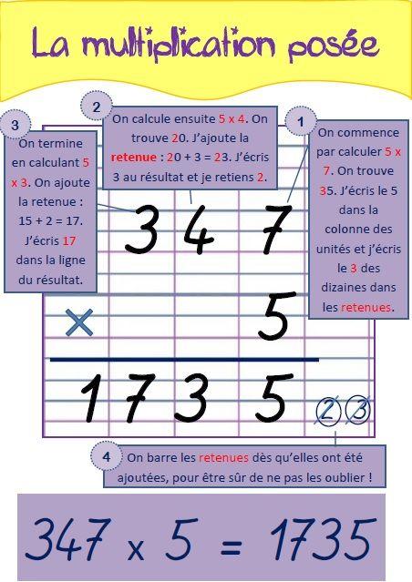 Toutes mes affiches de techniques op ratoires nombre for Multiplication cm1 en ligne