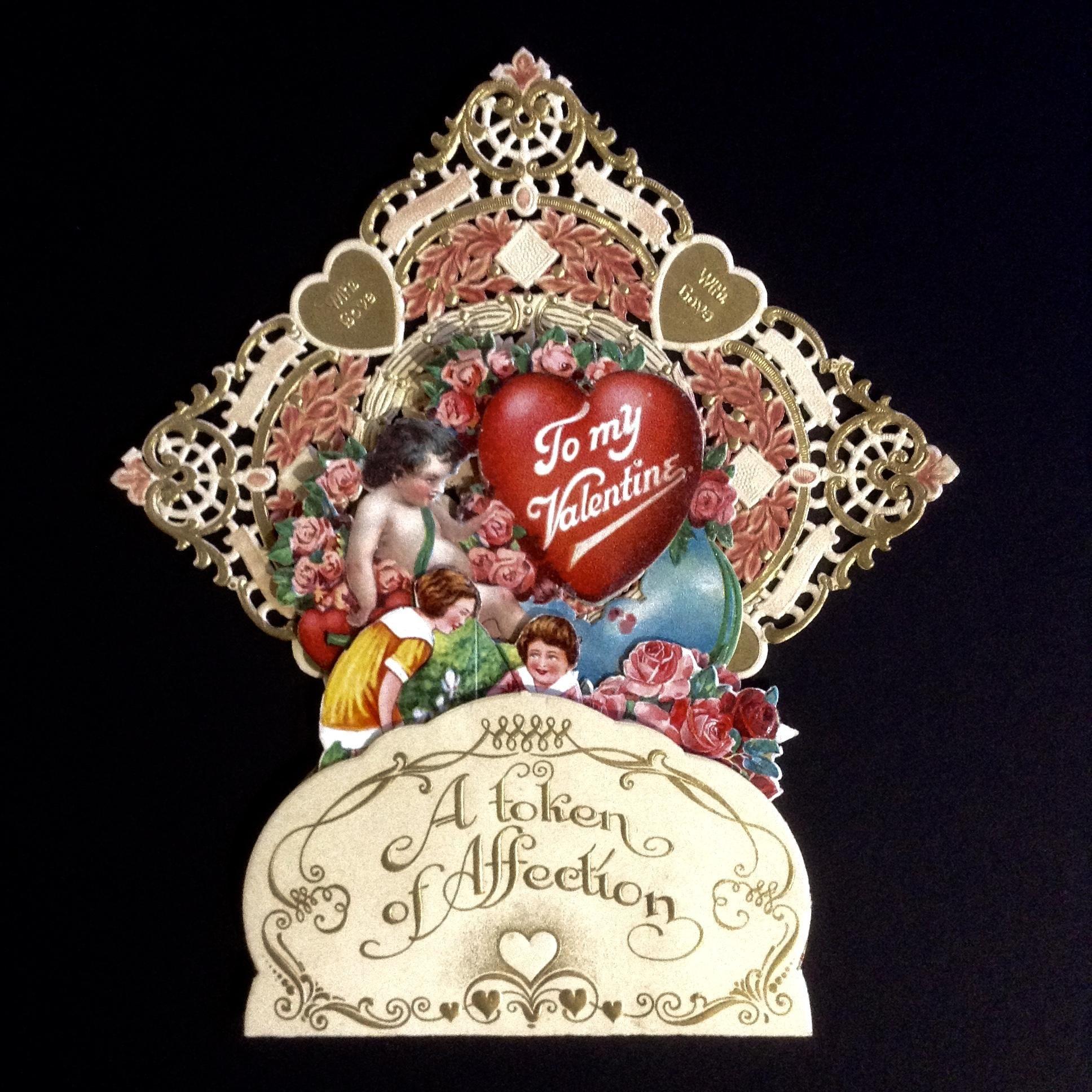 Vintage German Valentines Day Card Die Cut Pierced Embossed Gold – German Valentines Day Cards