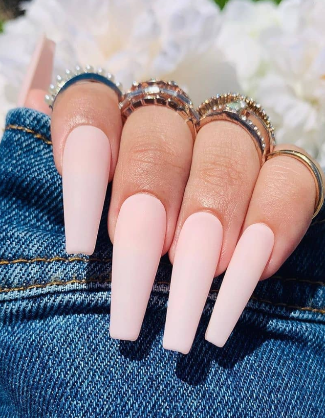 36 Elegant Pink Coffin Nail Design For Acrylic Nails To Be Romatic Baby Pink Nails Coffin Shape Nails Light Pink Nails