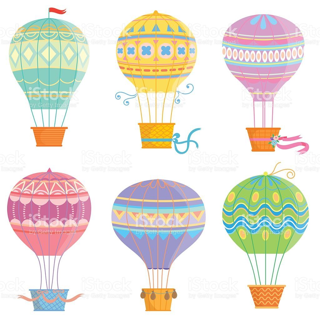 Set of colorful hot air balloon .Vector illustrations isolated on ...