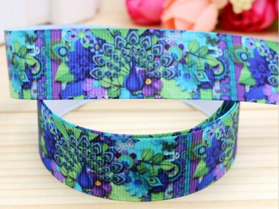 7/8 Grosgrain Ribbon Pretty as a Peacock by Sparklesbeadsandmore