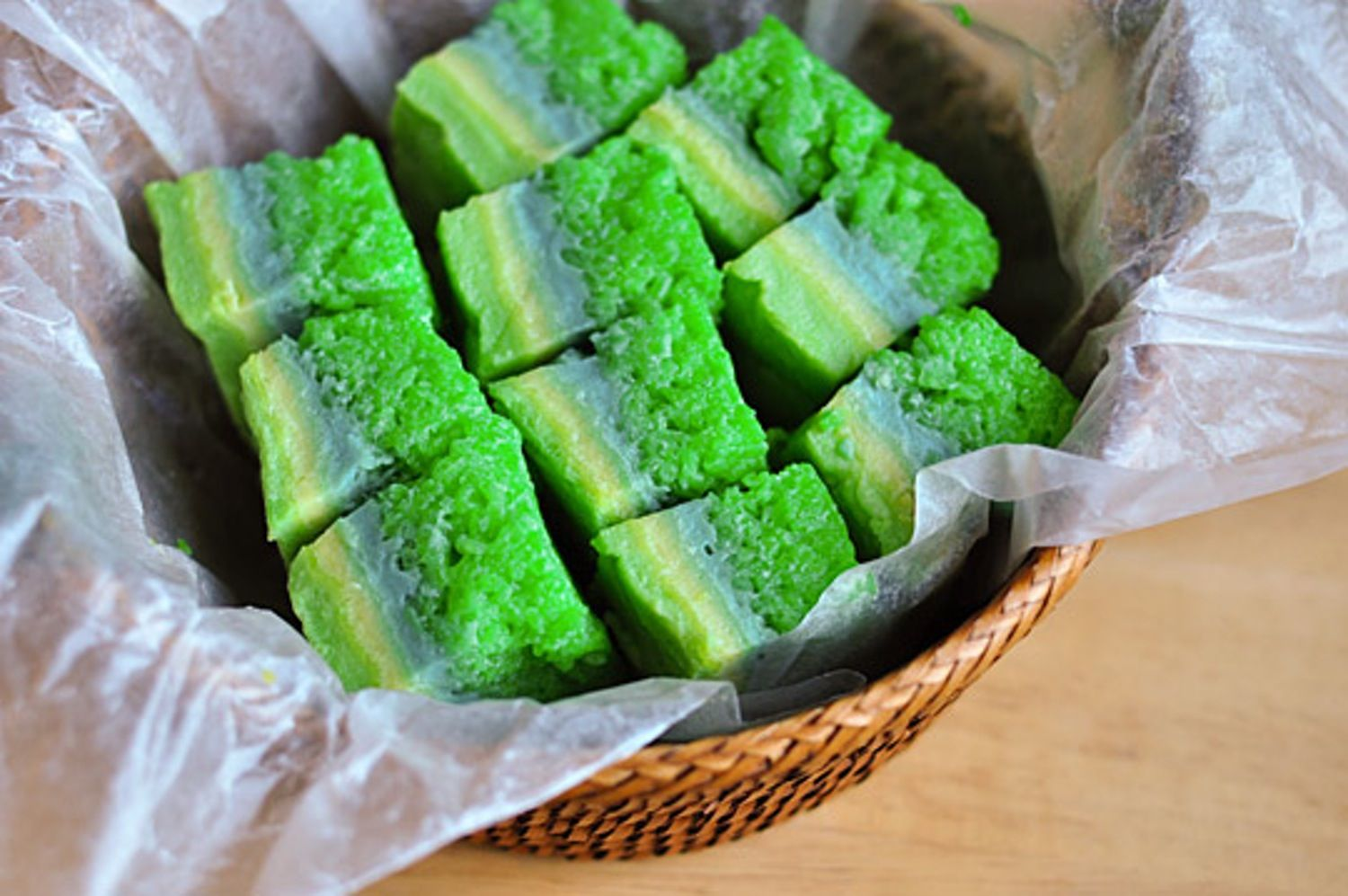 A sweet taste from thailand pandan rice cakes rice