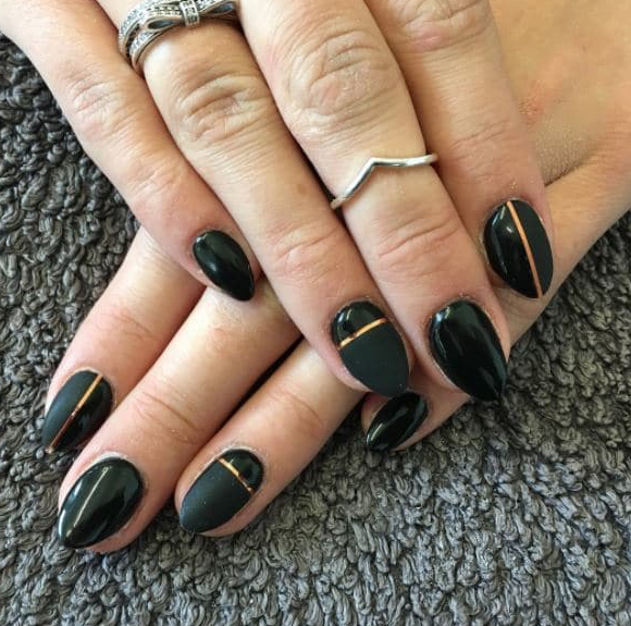 A Simple Black Manicure Can Instantly Be Spruced Up With Some Copper Striping Tape Black Gel Nails Nails Black Manicure