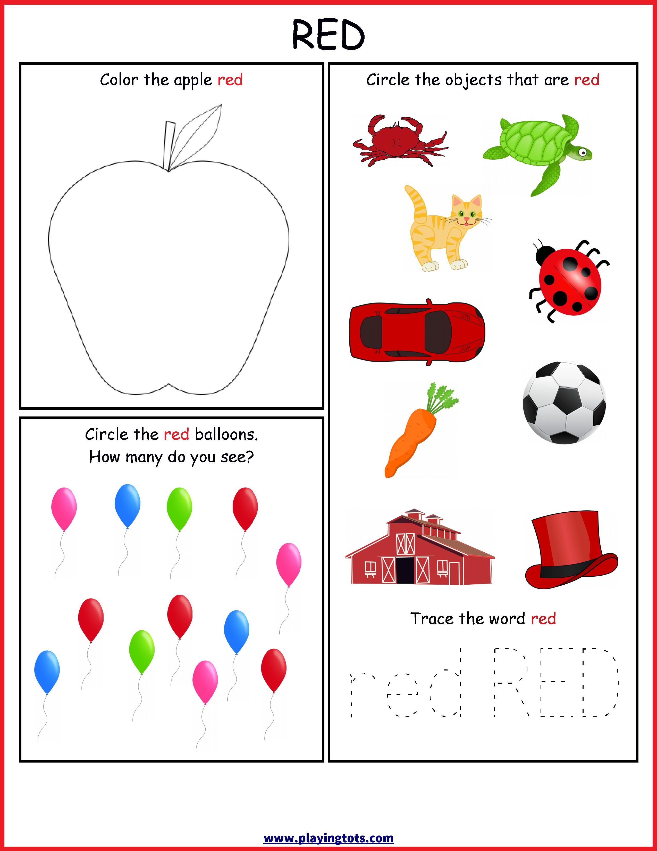 worksheet,color,red,free,printable,toddler,preschool,kids ...