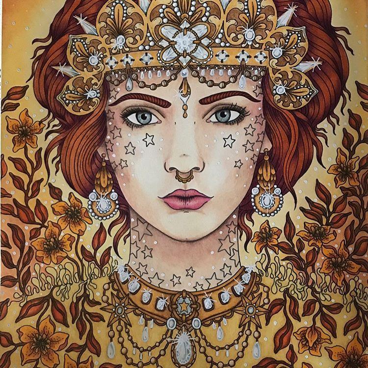 Love her ❤️❤️❤️ Hanna Karlzon magisk gryning prismacolor and white posca for highlight #coloringbook#coloring#instacoloring#prismacolor#coloringforadults#mycreativeescape#coloringbook#colorful#målarbok#prismacolorpremier#pencilart#pencil#creativelycoloring#malebogforvoksne#fixative#posca#poscapen#wingsofstella#diamond #lady #zestit #magiskgryning #hannakarlzon @hannakarlzon