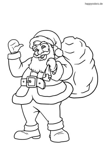 Winkender Weihnachtsmann Ausmalbild ...