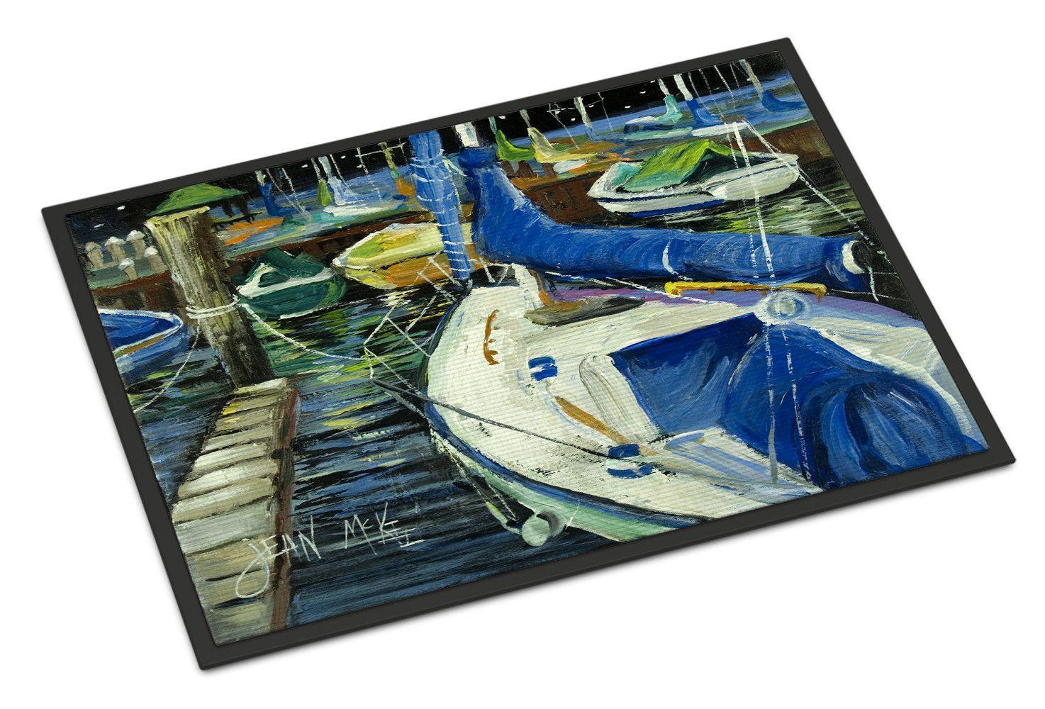 Night on the Docks Sailboat Indoor or Outdoor Mat 24x36 JMK1031JMAT