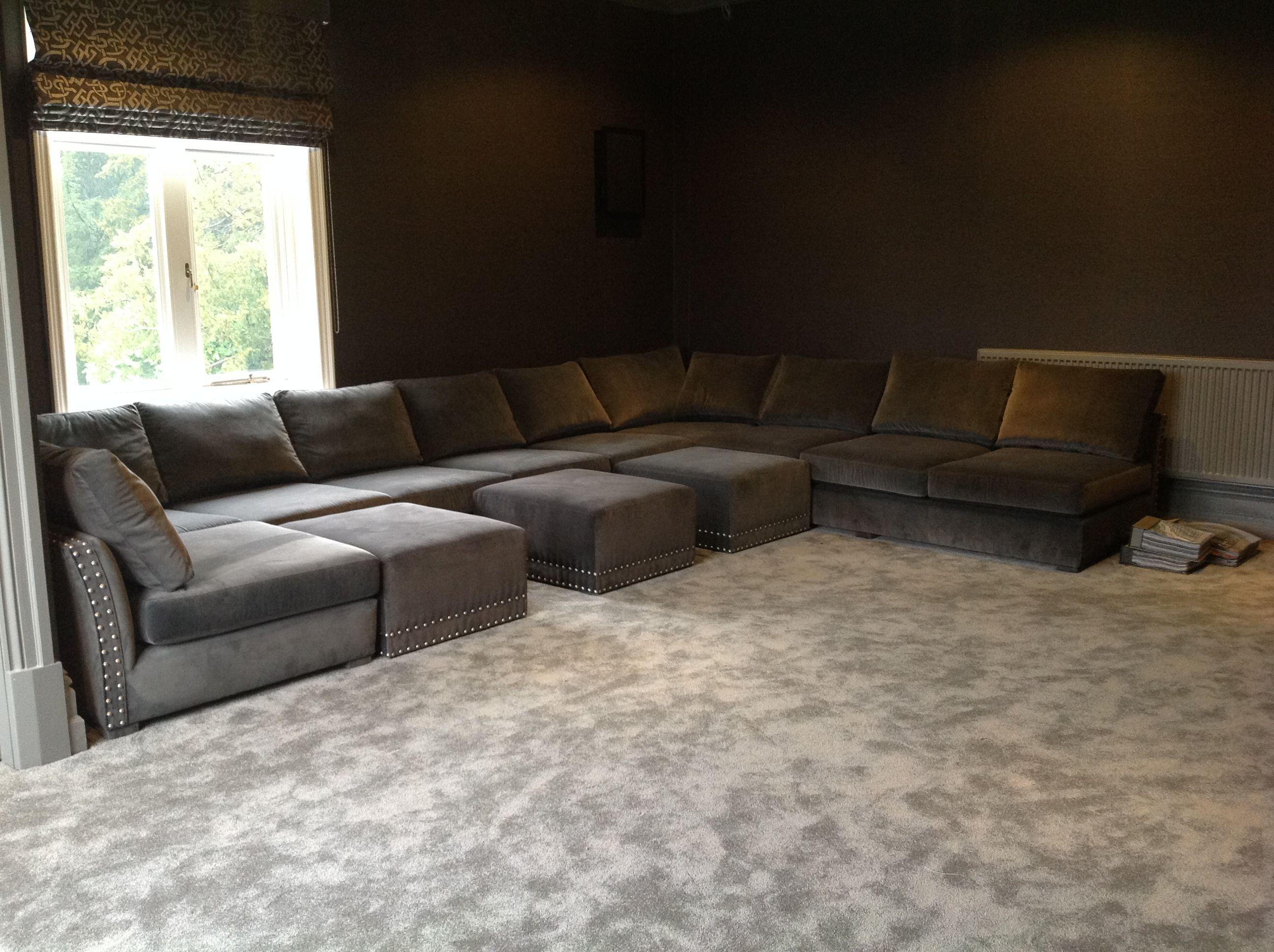 Cinema U Shape Sofa Deep And Slouchy With Wheeled Pull Up