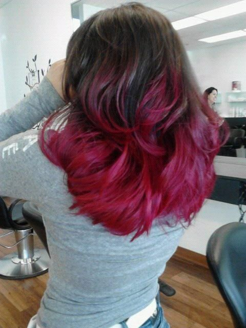 Medium Length Hair Cut Brown Hair With Red Ends Ombre Hair Style