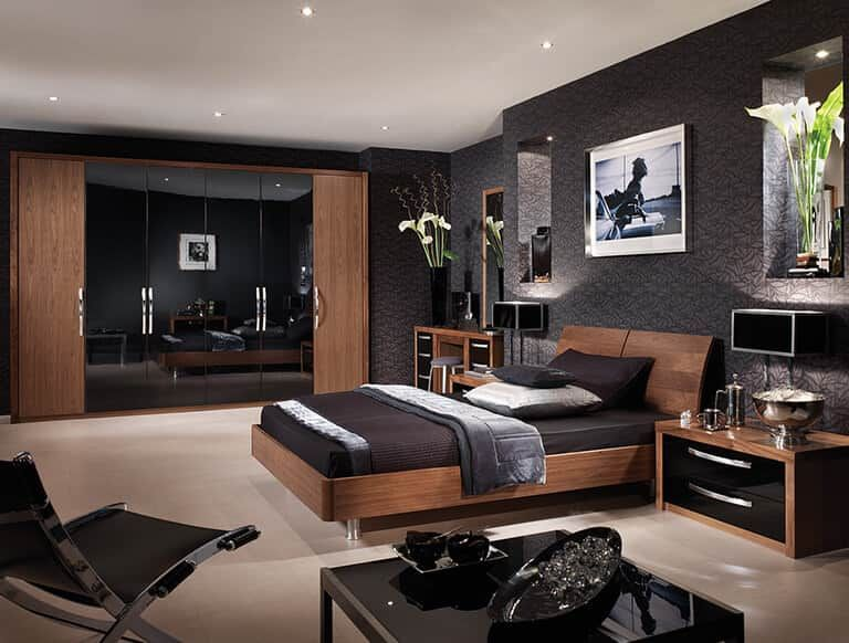 A Timeless Fitted Bedroom In American Black Walnut Wood Grain, Beautifully  Complemented By A High Gloss Black Finish. Call 0800 212 337 For A  Consultation.