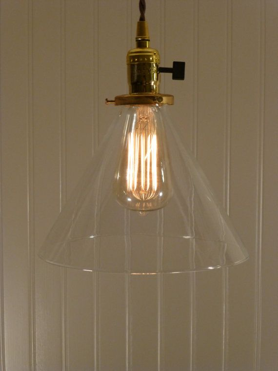 9 Inch Deep Hand Blown Glass Cone Shade Pendant by VintageCopper, $138.00