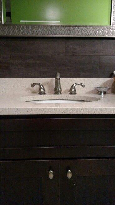 Master bath redo - vinyl flooring as back splash