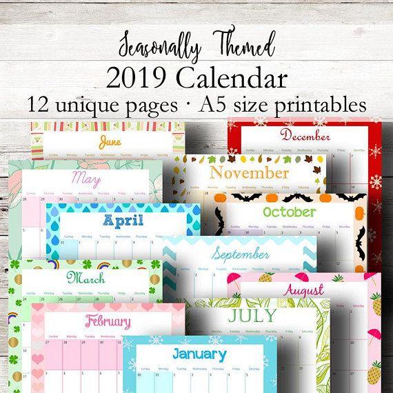 Monthly 2019 Calendar A5, Printable Calendar, 2019 Printable