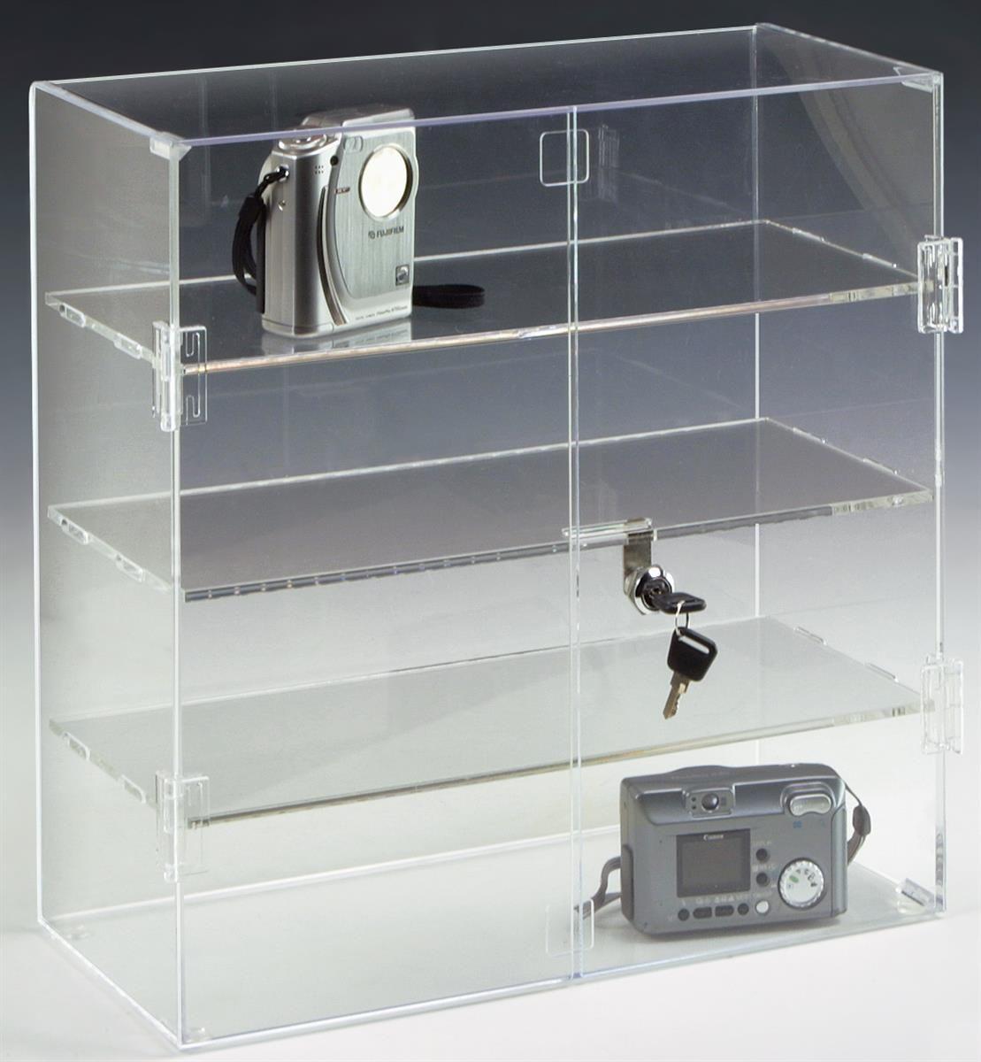 Acrylic Countertop Display Case W 3 Shelves Locking Door