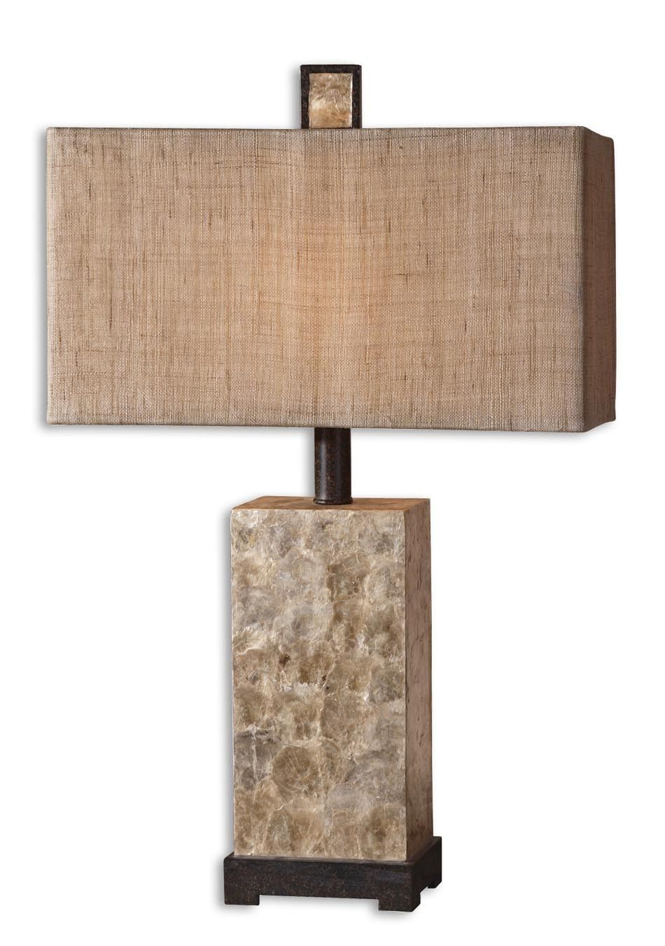Rustic Mother Of Pearl Table Lamp with natural burlap shade.