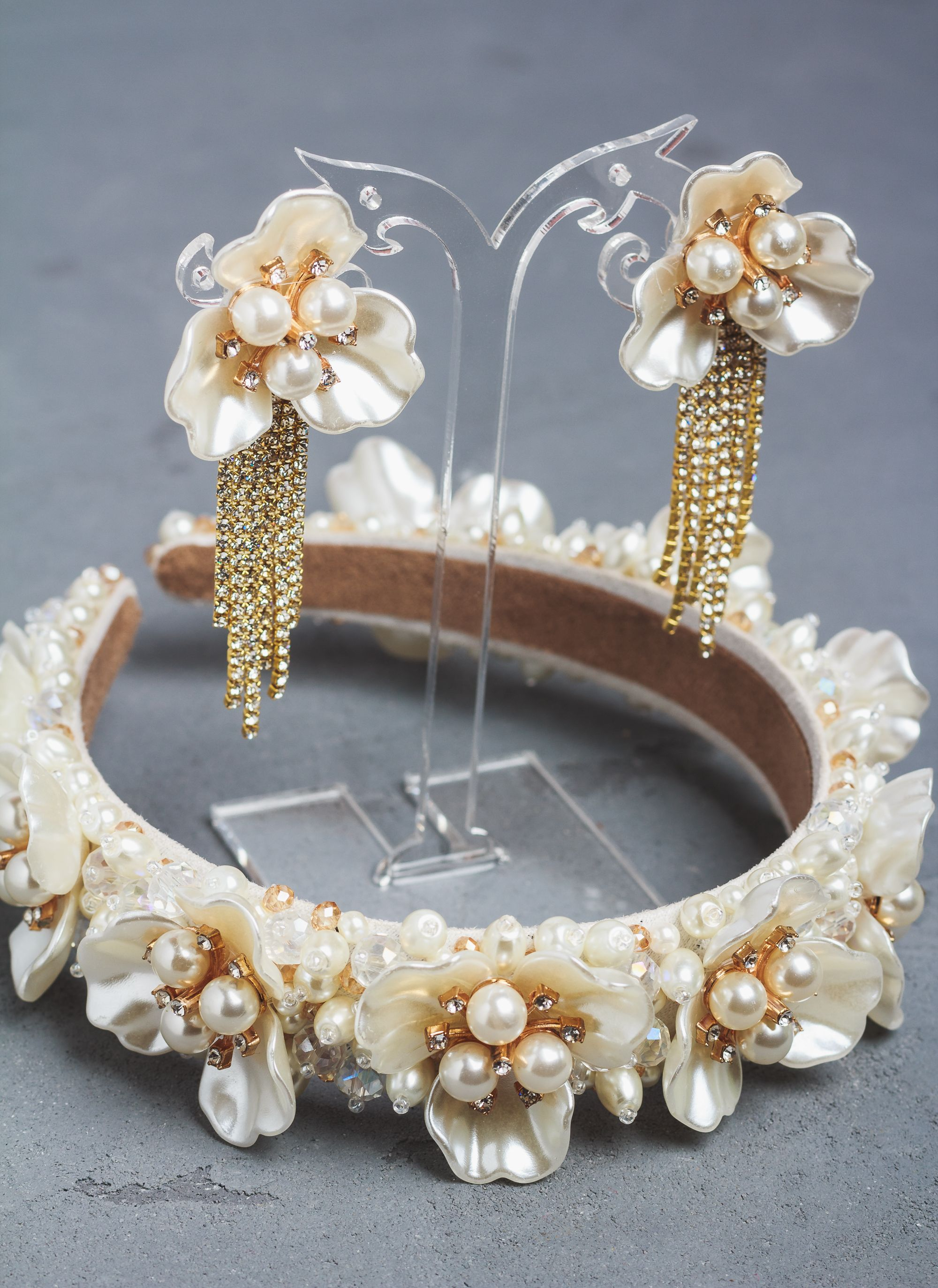 Baroque Women/'s Embellished Headband Hairband Crown Crystal Flower Pearl Wedding