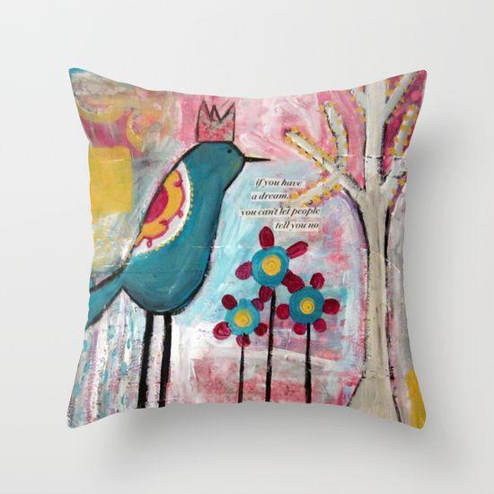 Dream+Bird+Throw+Pillow+by+Sunshine+Girl+Designs+-+$20.00