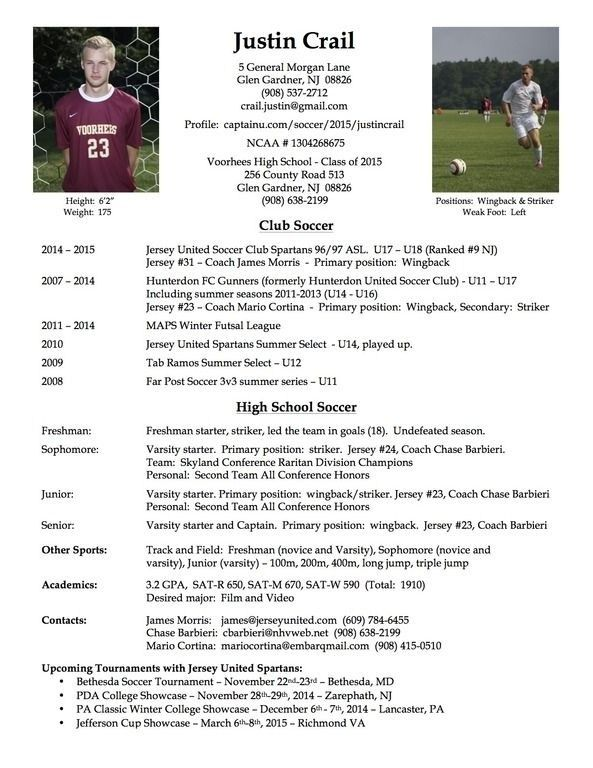 Resume Example Football Player Samples Soccer Coach Profile Soccer Coaching College Soccer Soccer Players