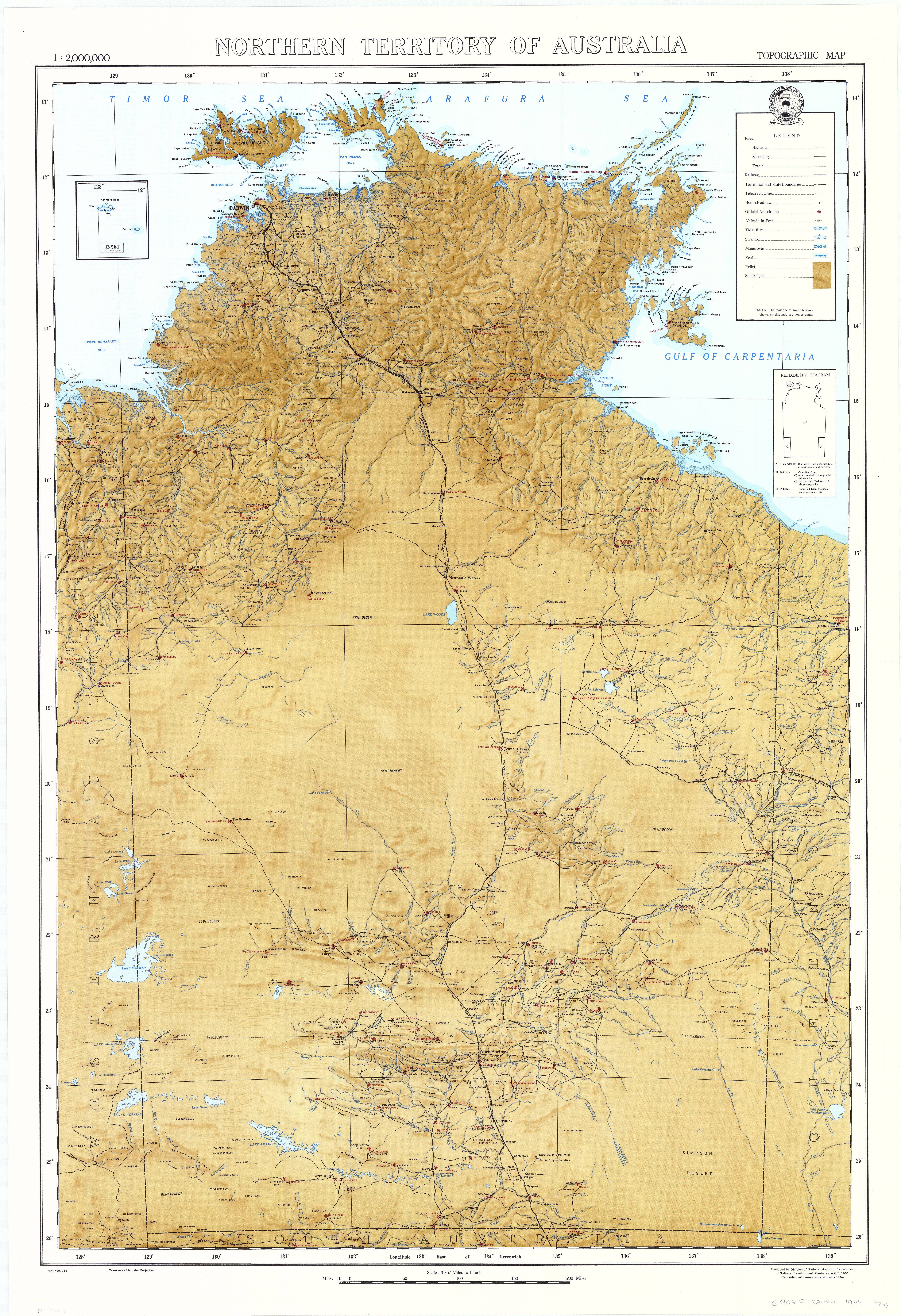 Northern Territory of Australia topographic map (1964) | Maps of ...