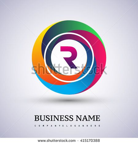 R letter colorful logo in the circle. Vector design template elements for your application or company identity. - stock vector
