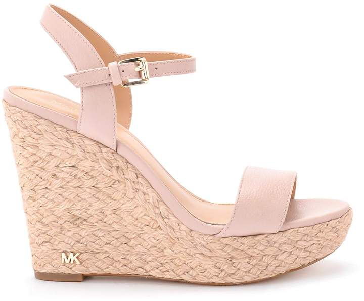 Pink wedge sandals, Leather wedge