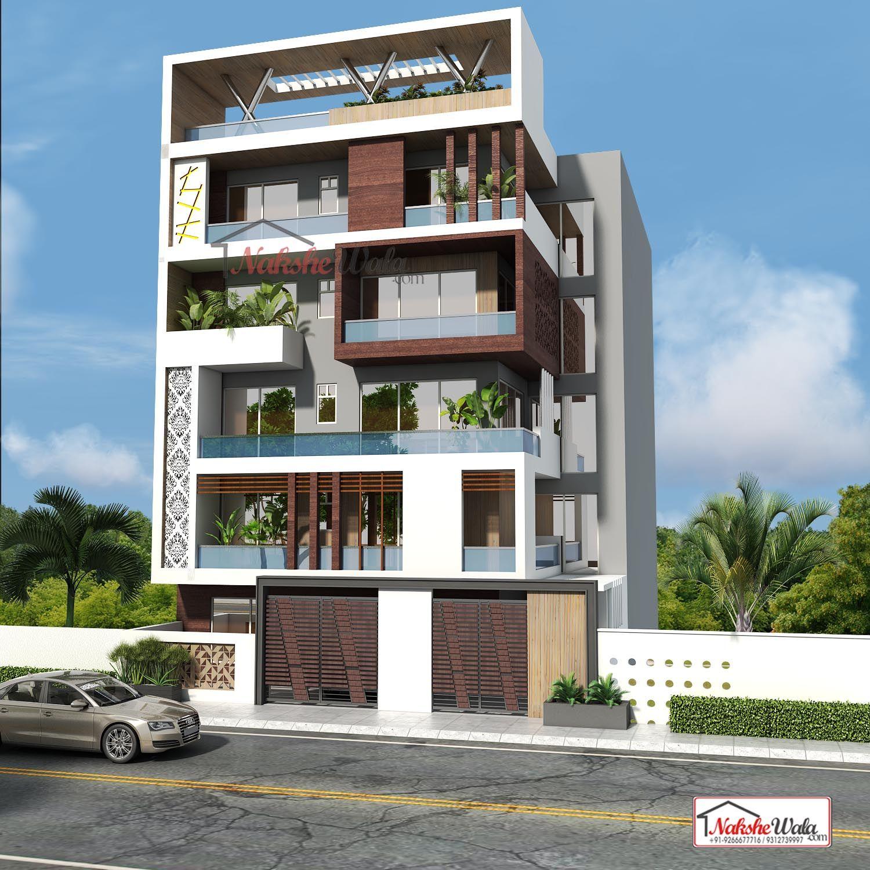 Triple Storey House Elevation Design By Nakshewala.com