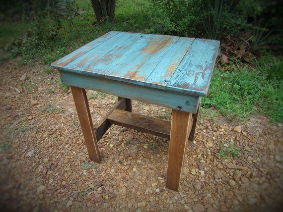 Turkis Tabellenende Rustikalen Tisch Sudwestliche Von Serenevillage