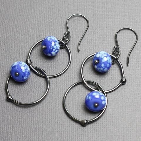 Apae And Chalcedony Earrings Blue Beaded