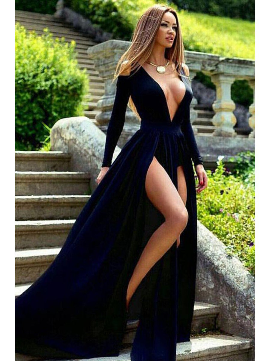 Chic prom dresses v neck black simple prom dress long evening dress