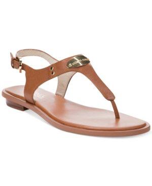 d13750a4b97b33 Michael Michael Kors Mk Plate Flat Thong Sandals - Brown 7.5M