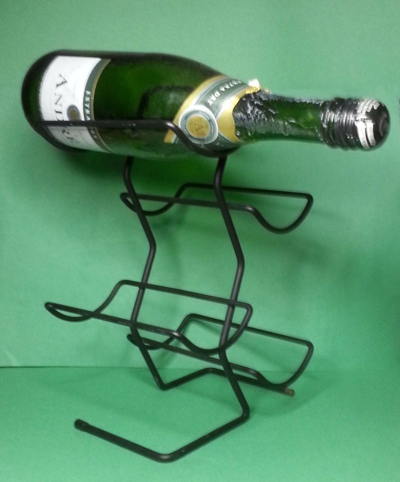 Table Top Metal Black Wine Rack Bottle Holder Storage Countertop