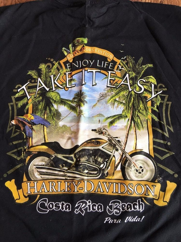 f9e2be3e9 Harley Davidson T Shirt Costa Rica Beach Collector's Addition Licensed New  Large