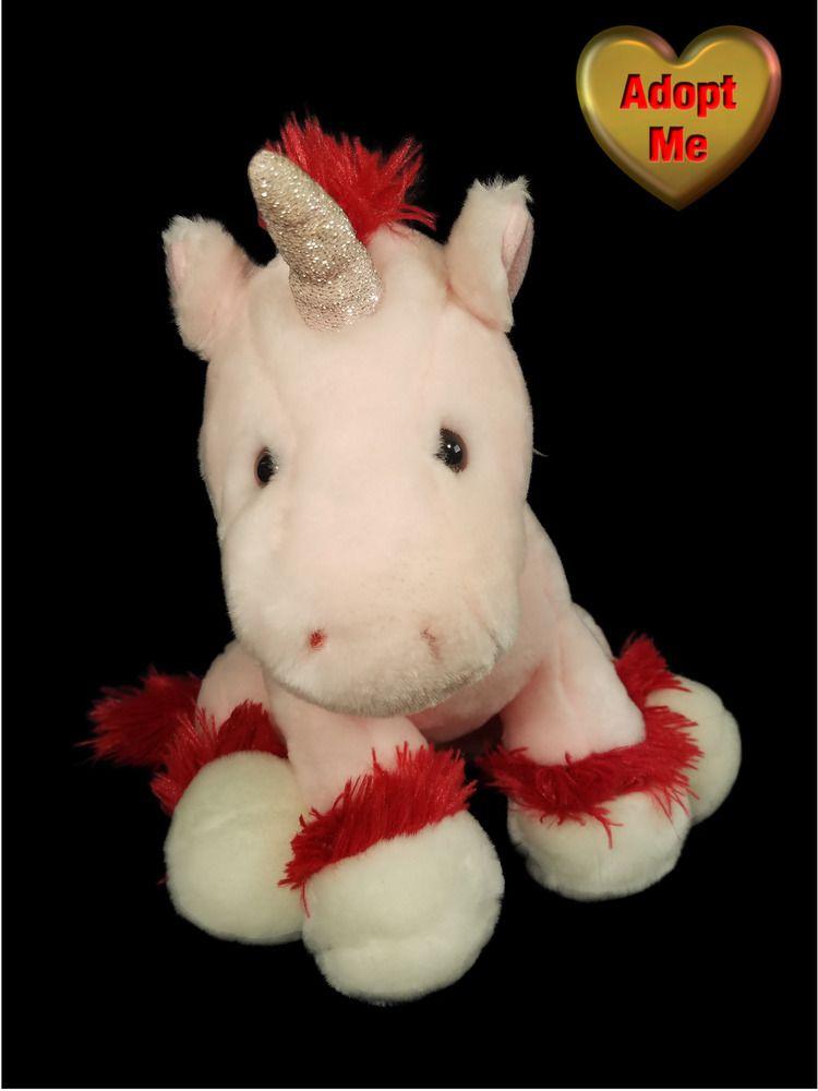 Walmart Pink Red Unicorn Horse Stuffed Plush Animal 10in Vintage