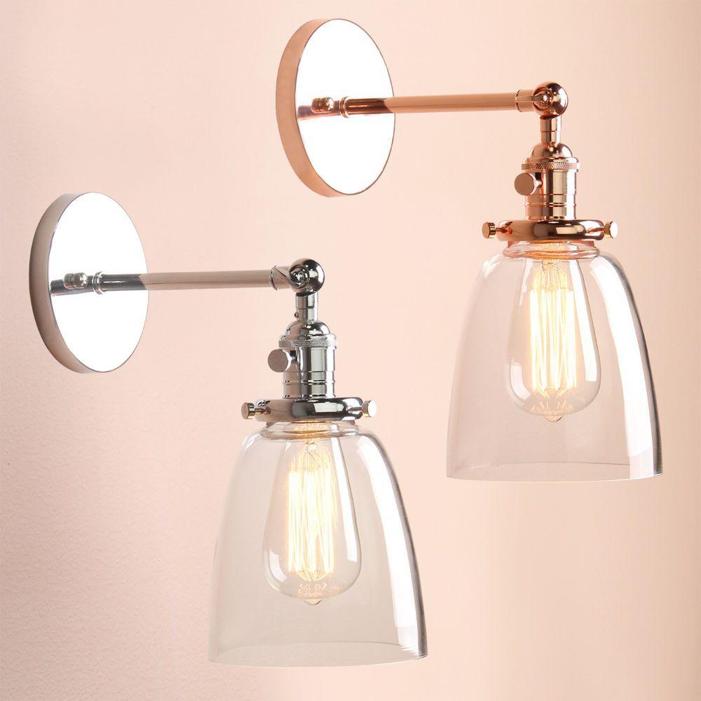 Industrielle Glocke Klarglas Schatten Sconce Rustikale Loft Wandleuchte Lampe