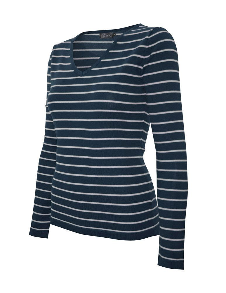 Cielo Women's Traditional V-neck Striped Pullover Teal/Silver SW445 - 6 Pcs