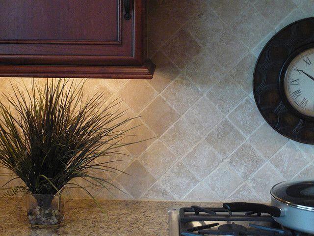 Tumbled Tile Backsplash With Cabinets