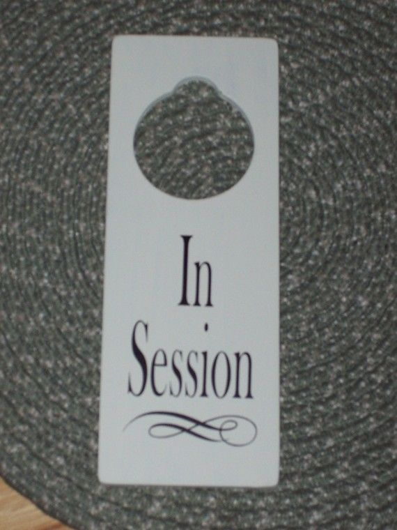 in session wood vinyl sign door hanger business retail spa